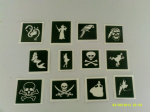 30 x pirate & princess themed stencils (mixed) for glitter tattoos / airbrush tattoos / henna / cakes / etching / many other uses  fund raising girls